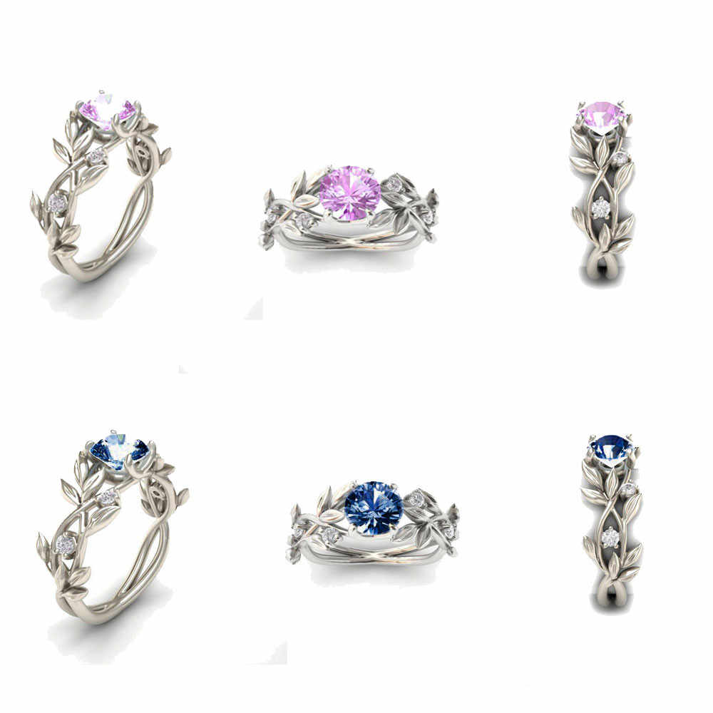 2019 ผู้หญิงเงินสีงานแต่งงานแหวน Leaf Design Luxury Cubic Zirconia แหวนของขวัญเครื่องประดับ Bijoux Anillos