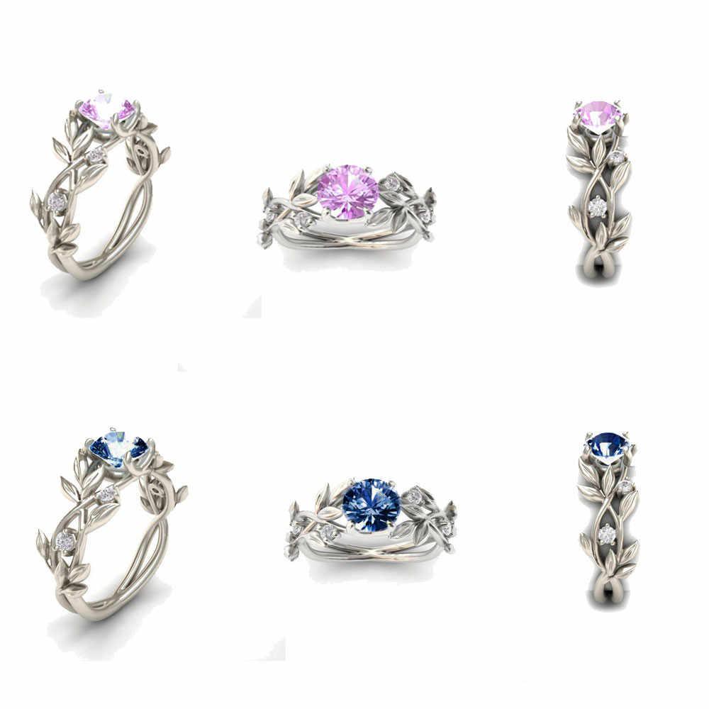 2020 Panas Wanita Warna Perak Cincin Daun Mewah Janji Zirkonia Kubik Hadiah Perhiasan Bijoux Anillos