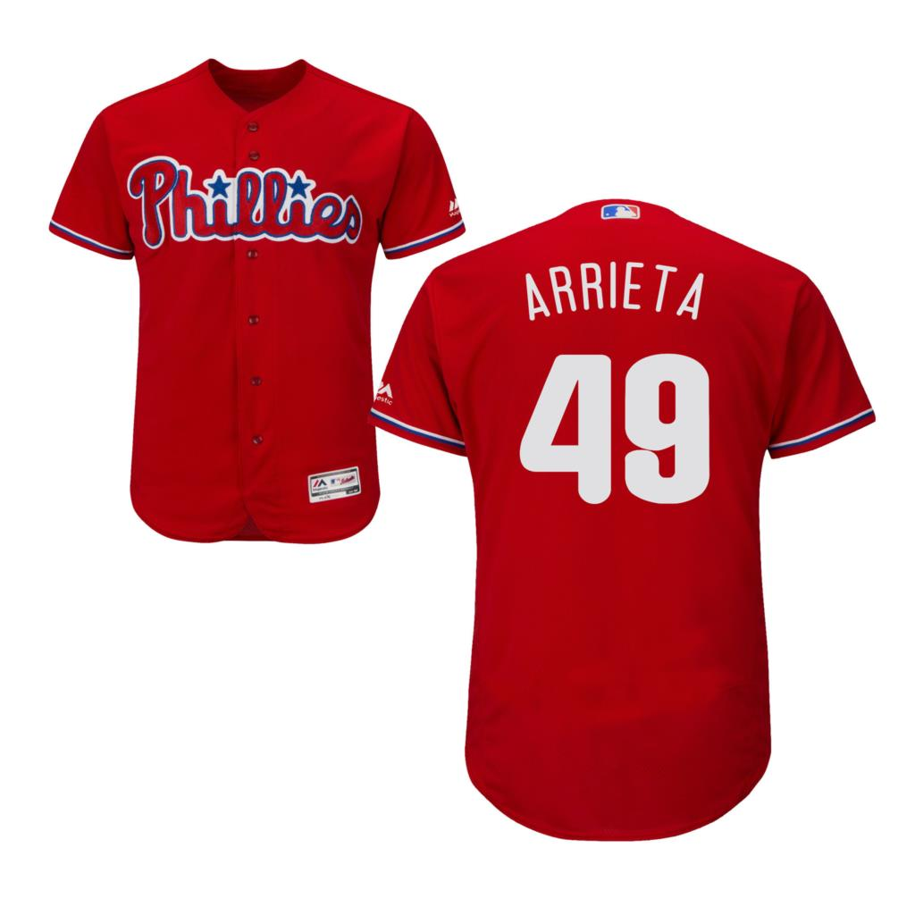 MLB Mens Philadelphia Phillies Jake Arrieta Red Cool Base Jersey