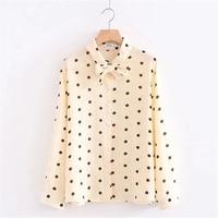Plus size Chiffon shirt female 2018 Blusa Polka Dot Tops Autumn long sleeved Women blouse Women clothing