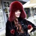 Горячая распродажа зимние шапки для женщин 100 / % натурального меха фокс шапки женщины натурального меха лисы шляпы уха защитный колпачок бомбардировщик шляпу