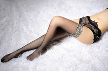 Leopard Detail Thigh High Stockings