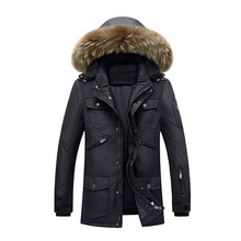 Men's brand Winter Keep Warm Coat 90% White Duck Down Jacket Coat Casual men Down Jacket natural fur collar thick hooded jacket