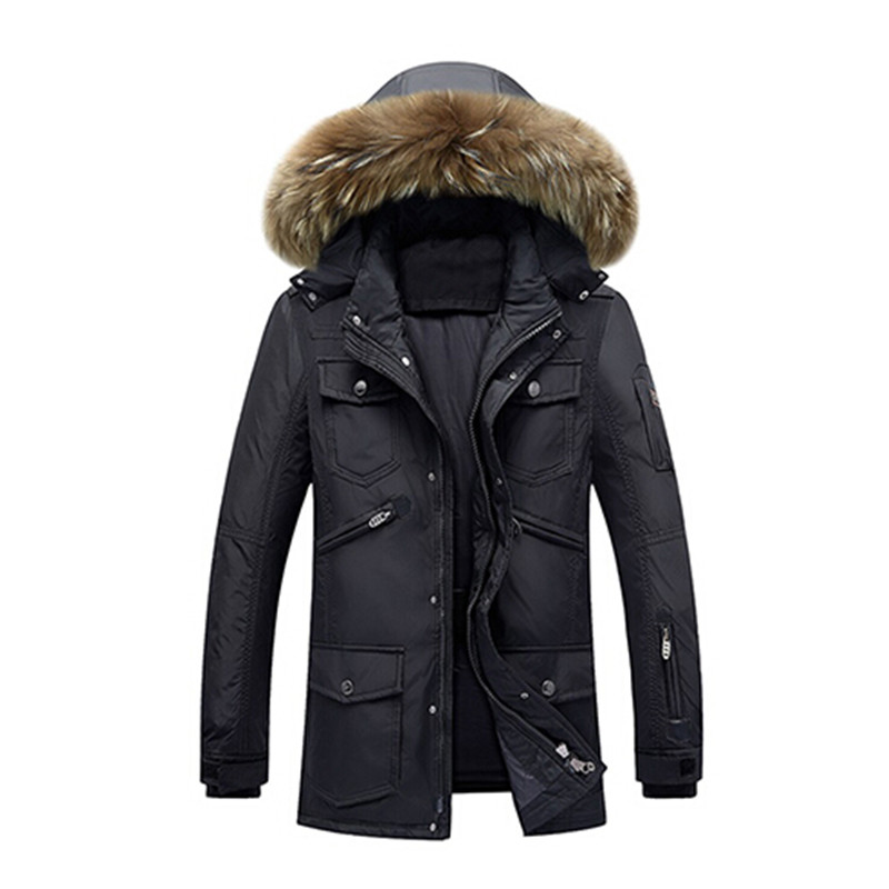 Men's brand Winter Keep Warm Coat 90% White Duck Down Jacket Coat Casual men Down Jacket natural fur collar thick hooded jacket high end business man white duck down jacket 2016 models 90% white duck down men outdoors with tops in thick warm coat long coat