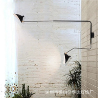 wrought iron wall lamp, simple atmospheric long industrial wind restoring ancient ways pendulum arm, led wall lamp