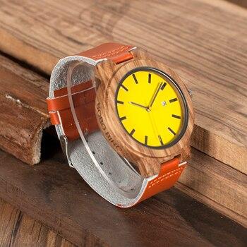Reloj de madera amarillo pulso de cuero naranja unisex 1