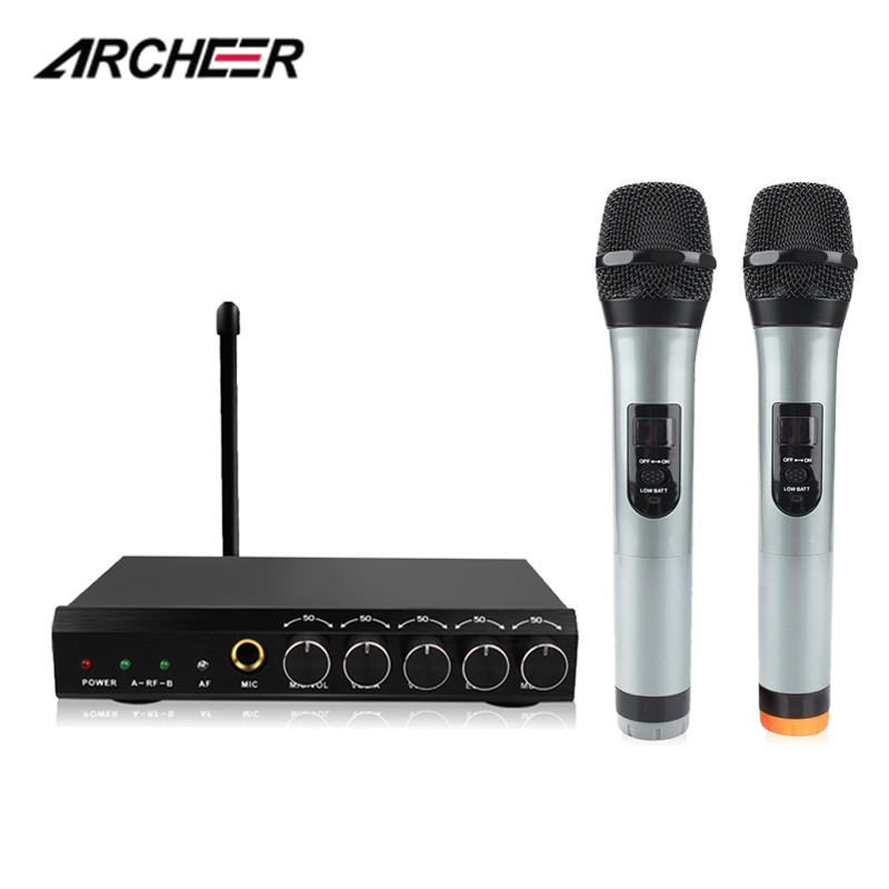 ARCHEER VHF Wireless Microphone System Professional 2 Handheld Mic Dual Channel VHF Transmitter Microphone Systerm For Karaoke