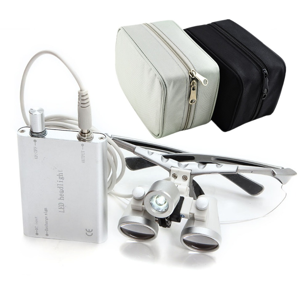 Hot!! Loupe Set with Silver Case Dental Medical Binocular Loupes 3.5X420mm Optical Glass Loupe+LED Head Light Dental loupes medical instrumentation head ent checker otoscope eye ear throat dental inspection ophthalmoscope vocal cord set