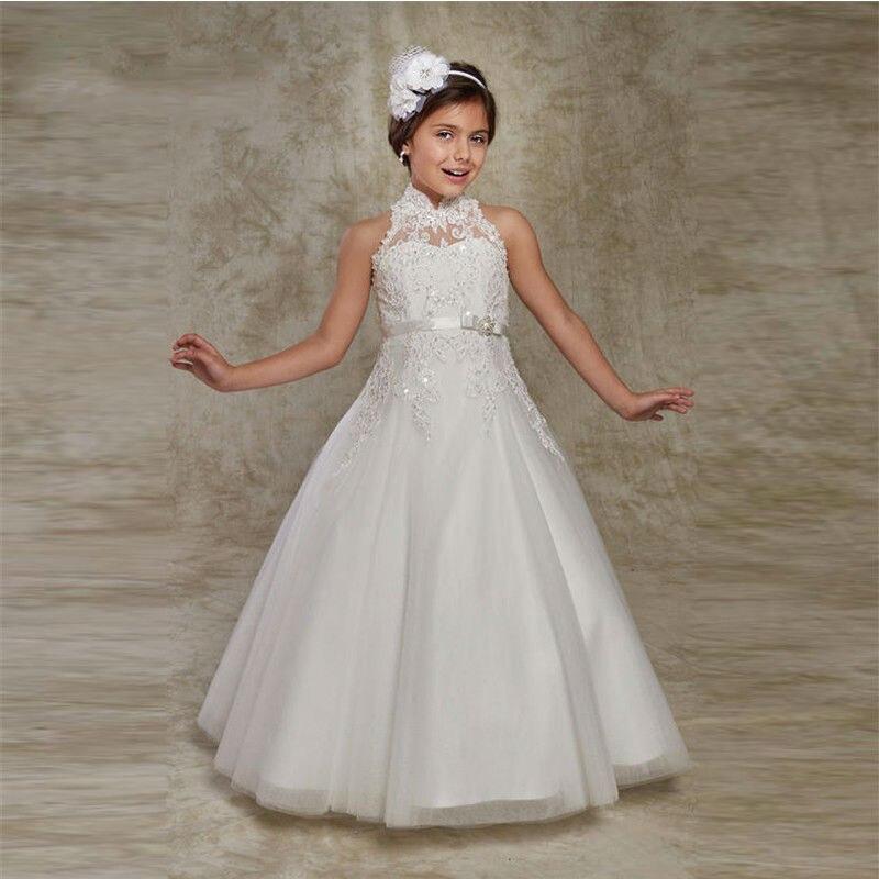 2794fe164 Niñas vestido de la muchacha de flor de satén vestidos para bodas 2019  línea Santo vestidos de primera comunión concurso princesa vestidos - a .iamsika.me