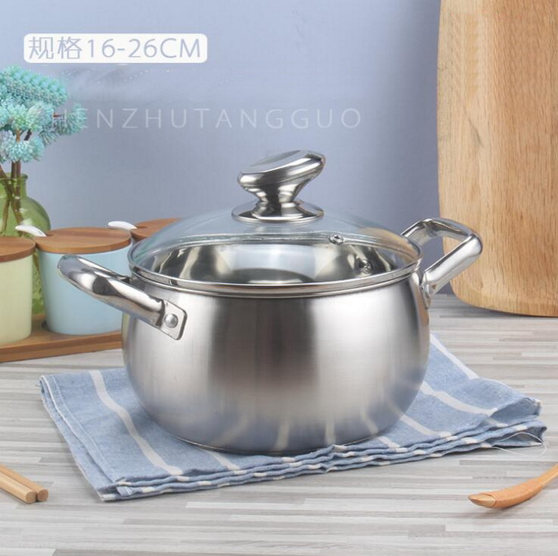 Thick stainless steel pearl soup pot tube ear double handle soup pot induction cooker stainless steel kitchen pot set