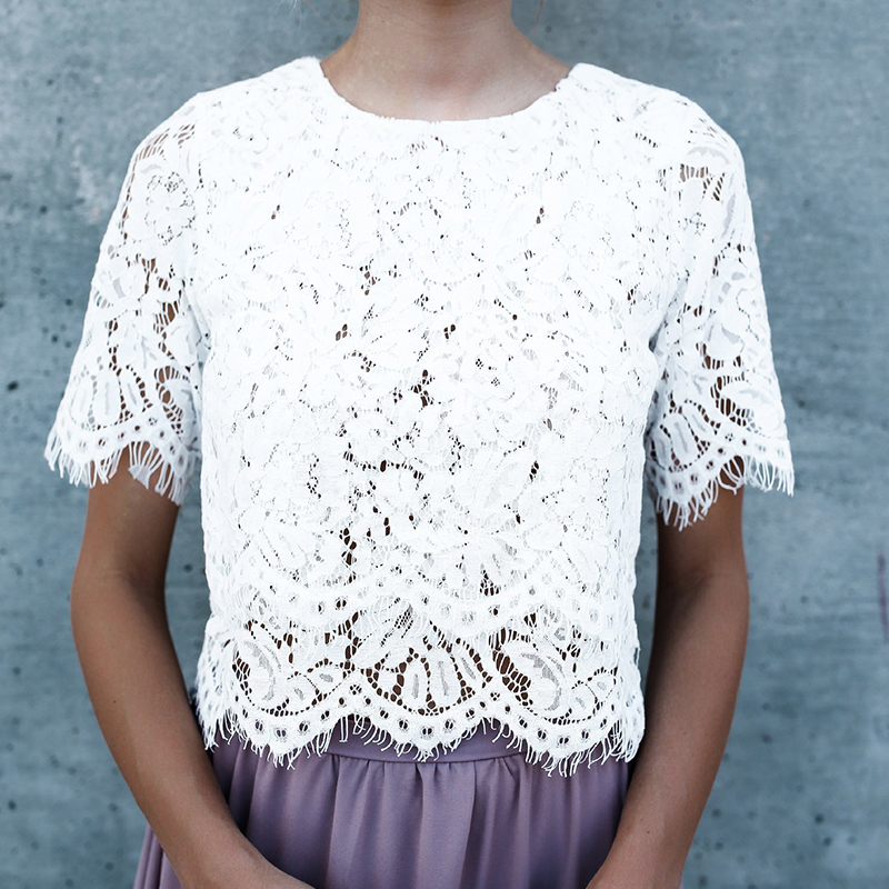2018 spring fashion white floral lace women tops and for White floral shirt womens