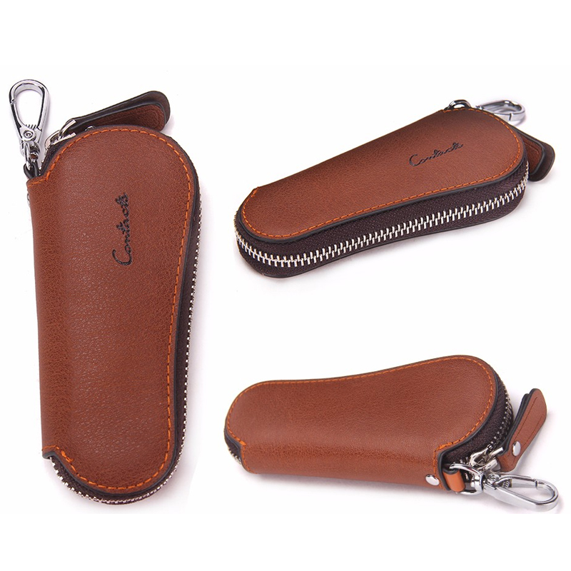 CONTACT'S Men Genuine Cow Leather Bag Car Key Wallets Fashion Women Housekeeper Holders Carteira Keychain Zipper Key Case Pouch 2