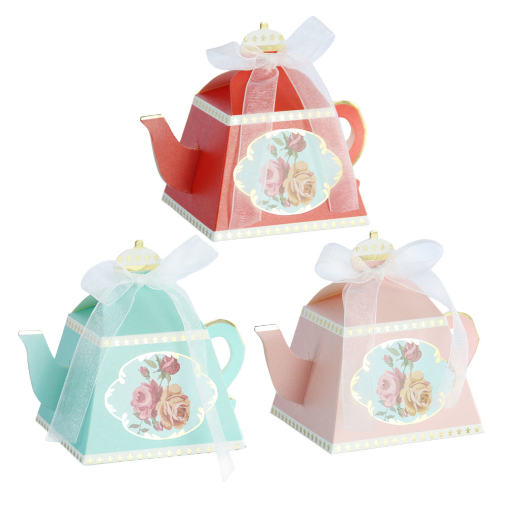 10pcs Teapot Candy Box With Ribbon Gift Cake Candies Packaging Boxes For Wedding Baby Shower Souvenirs Birthday Favors Supplies