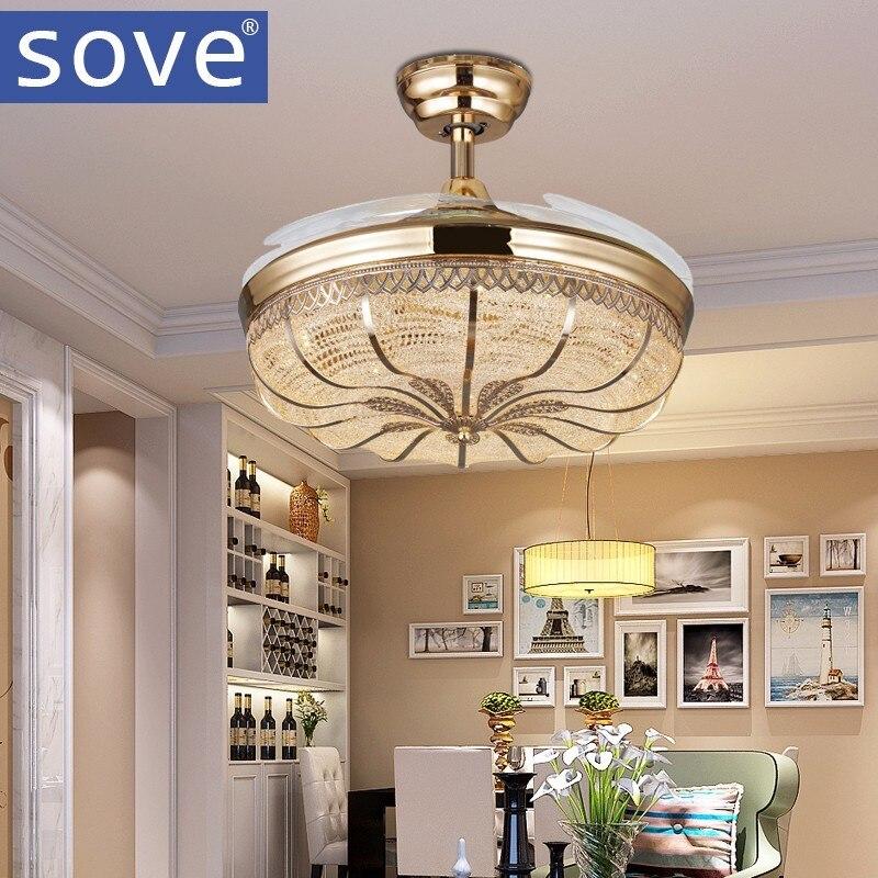 42 inch Gold Modern LED Retractable <font><b>Ceiling</b></font> Fans With Lights Living Room Home Decoration Folding <font><b>Ceiling</b></font> Fan Lamp 220 Volt