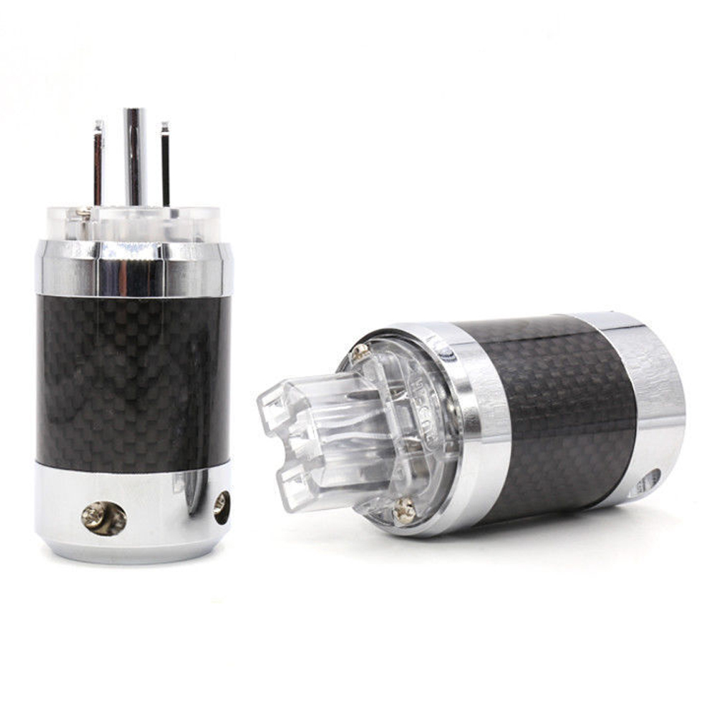 Hifi Audio Hi-End Carbon Fiber Rhodium Plated DIY AC Power Electrical Male female connector IEC US Plug nobsound hi end audio noise power filter ac line conditioner power purifier universal sockets full aluminum chassis