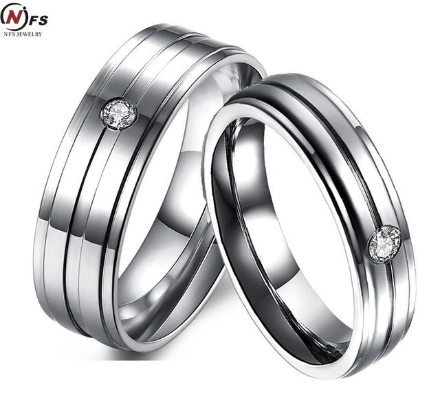 Vintage Wedding Rings CZ Rings For Women Men Stainless Steel Ring