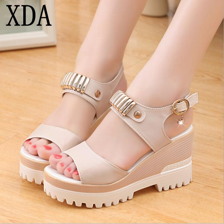 XDA 2018 Fashion Wedges Platform Sandals Women High Heel Shoes Hot Buckle New style Summer sandals Open Toe Women Shoes F158 venchale 2018 summer new fashion sandals wedges platform women shoes height heel 10 cm buckle strap casual cow leather sandals