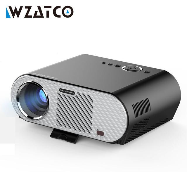 WZATCO P90 Portable 1080 p Full HD LED Proyector de 3200 Lúmenes de Cine En Casa Multimedia Videojuego Proyector LCD Beamer Projetor gp90