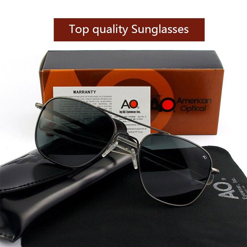 AO Óculos De Sol Piloto Da Aviação Militar Do Exército Das Mulheres Dos Homens Óculos de Sol Condução Tons Masculino Marca Designer Lente de Vidro caixa Original