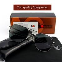 AO SunGlasses Men Women Army Military Aviation Pilot Sun Glasses Driving Shades Male Brand Designer Glass Lens Original box