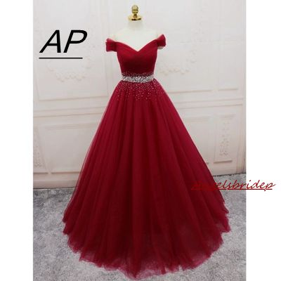 ANGELSBRIDEP Tulle Evening Dress Vestido Longo Fashion V Neck Off Shoulder Crystal Waist Lace up Celebrity