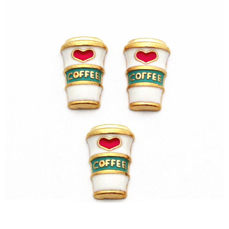 Hot Sale 10pcs/lot Metal Enamel Gold Love Coffee Cup Floating Charms For Living Glass Floating Lockets Necklace DIY Jewelry