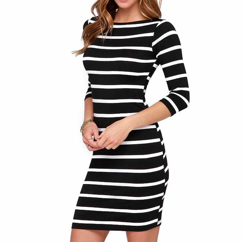 Elegante 2019 di Modo Nero Bianco Strisce Vestiti Delle Donne Sexy del Collo Rotondo Del Vestito Manicotto Mezzo Sottile Più Il Formato Vintage Abbigliamento Donna