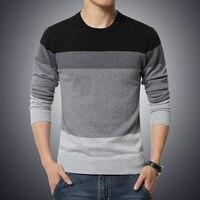Мужской вязаный свитер, Осень-зима, Повседневный, с круглым вырезом, в полоску, тонкая трикотажная одежда, мужские свитера, пуловеры, джемпер...