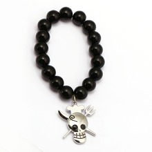 One Piece Luffy Zoro Sanji Bracelet Black Onyx Beads