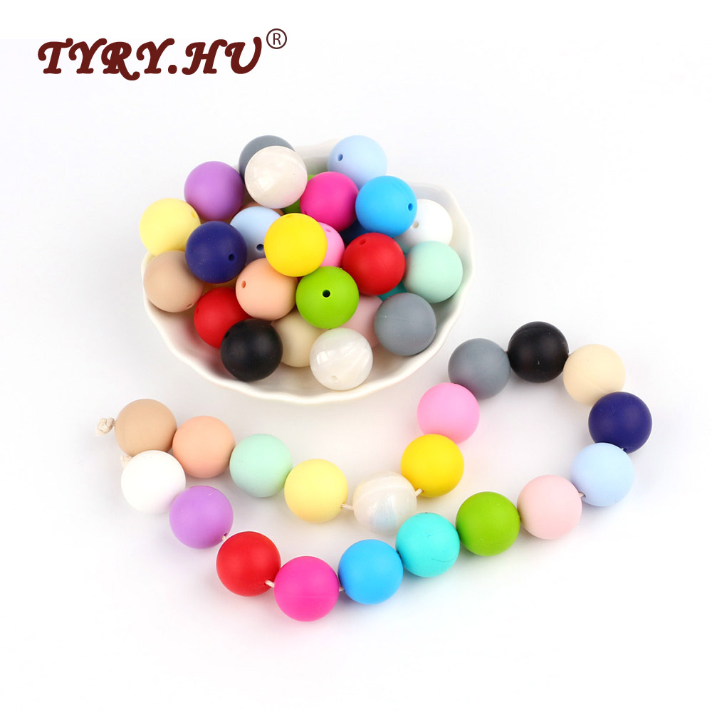 TYRY.HU 10Pcs 19mm Round lettre Silicone Beads Food Grade Baby Silicone Teether Beads Baby DIY Chew Pacifier Chain Accessories