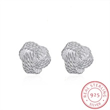 INALIS Hot Sale 925 Silver Sparkling Love Knots Stud Earrings For Women Compatible With Fine Jewelry Original Gift