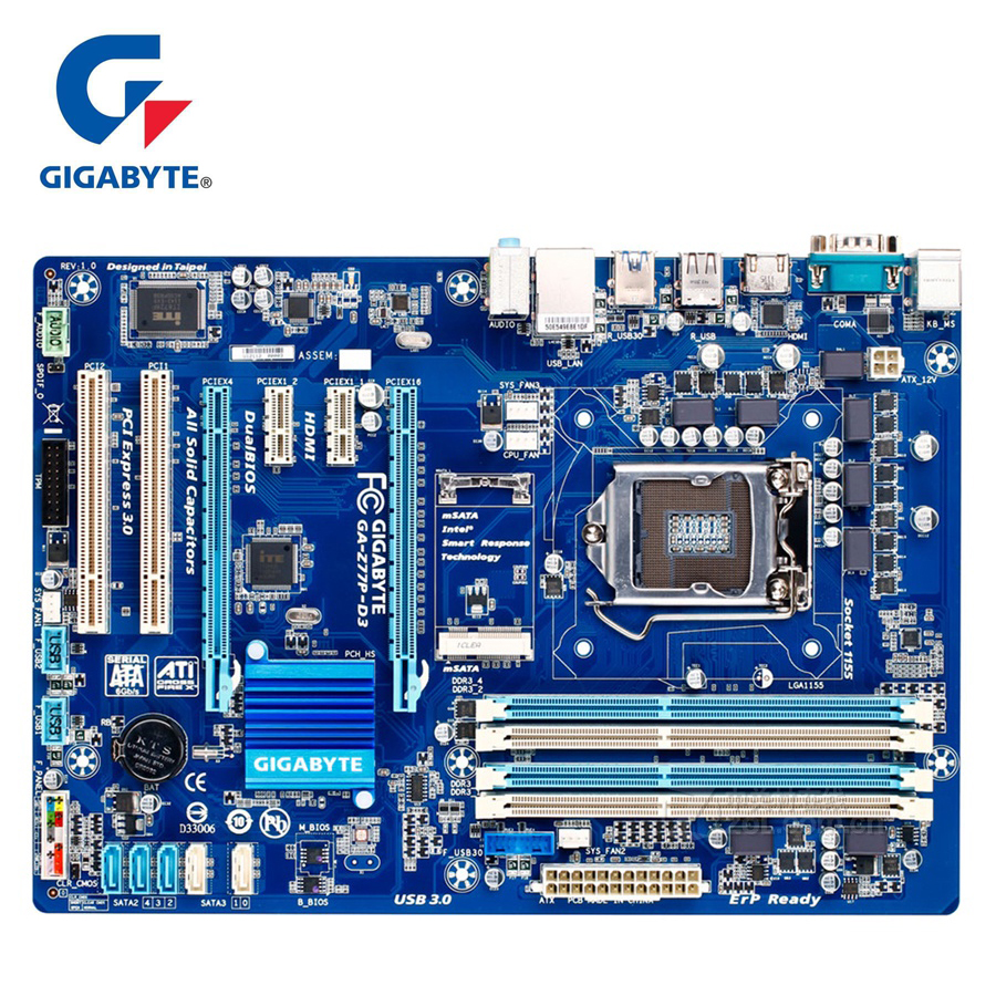 Gigabyte GA-Z77P-D3 100% Original Motherboard LGA1155 DDR3 USB3.0 32G Z77 Z77P-D3 Z77P D3 Desktop Mainboard SATA3 Non-repair gigabyte ga z170x ud5 original new desktop motherboard z170x ud5 z170 lga 1151 ddr4 64g usb3 1 atx