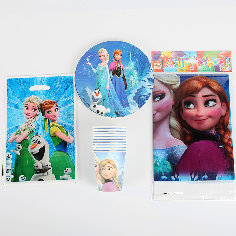 Disney Frozen theme Tableware Sets Total 31pcs Cup+gift bag+Tablecover+Plate kids Grils Birthday Party Supplies Decoration
