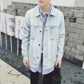 Мужчины джинсовая куртка мода ретро свободные джинсовые пальто мужской улица хип-хоп панк-стиль свободный пальто стиральная отбеливающие джинсы пальто N262