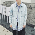 Los hombres de moda chaqueta de mezclilla retro suelta abrigo denim masculino calle hip hop punk estilo loose capa de lavado de blanqueo jeans coat N262