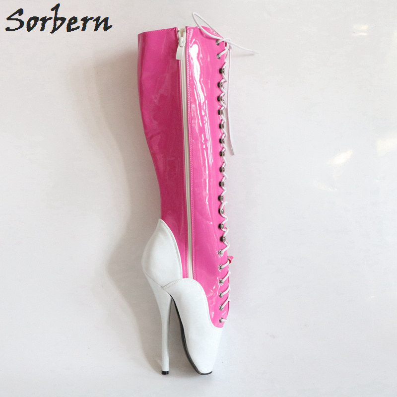 Veau Haute Genou Large Chaussures Fetish Chaussons Blanc Femmes Rose Color Pieds Unisexe Sorbern Bottes Ballet rose Talons Pointe Dominatrix Personnalisé Custom Des fnPxqp