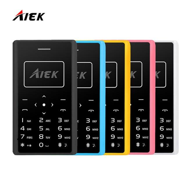 2017 Original AIEK X7 Phone 4.8mm MP3 Bluetooth Led Light Low Radiation Mini pocket Children Phone Ultra Thin Card Mobile Phone
