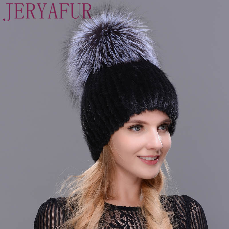 Real Mink Fur Hat For Winter Women Imported Knitted Mink Cap With Fox Fur  2017 New Hot Sale High Quality Female Beanies