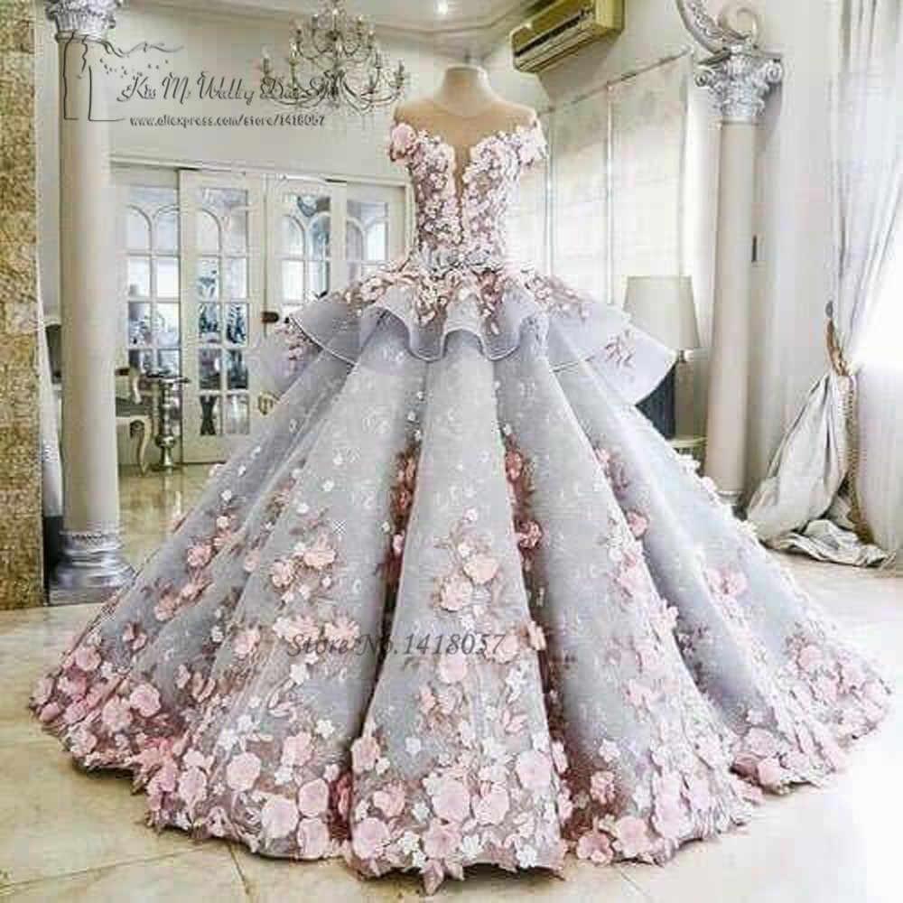 สีสันหรูหราชุดแต่งงานดอกไม้สีชมพู Dreamy Ball Gown งานแต่งงานชุดเจ้าหญิงชุดเจ้าสาว 2017 Vestido de Noiva Mariage