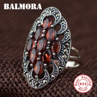 BALMORA 100% Real 925 Sterling Silver Red Garnet Retro & Elegant Rings for Women Lover Party Wedding Jewelry Anillos SLS20042