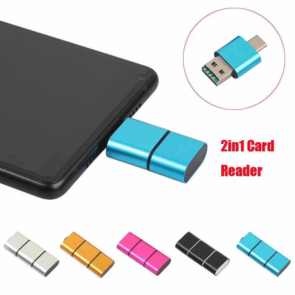 المحمولة البسيطة 2 في 1 مايكرو TF قارئ بطاقات نوع C إلى USB 2.0 مايكرو SD TF محوّل قارئ البطاقات