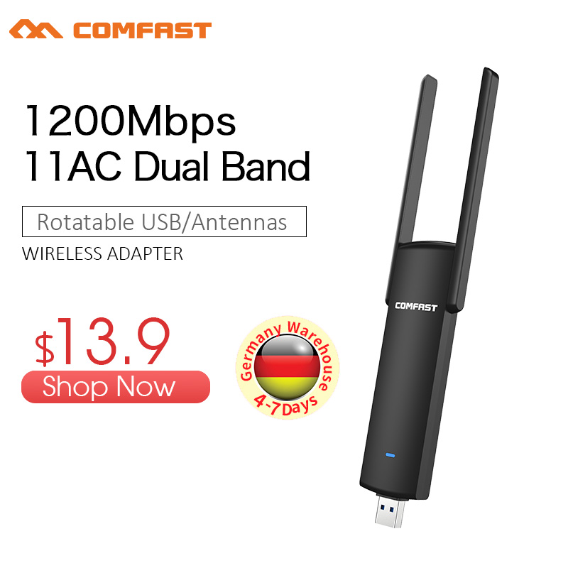COMFAST Usb Wifi Adapter 1200mbps 2.4Ghz + 5.8Ghz Dual Band Wi-fi Dongle Plug And Play AC Network Card USB Wifi Antenna CF-926AC