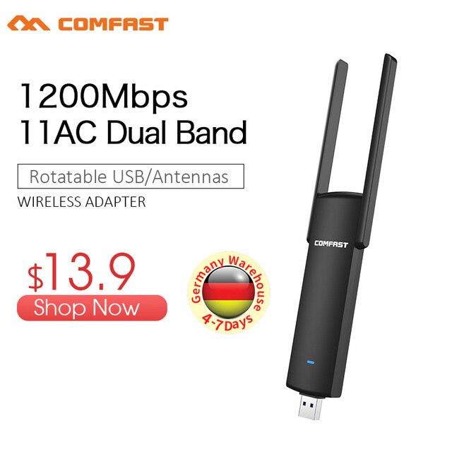 Adaptateur Wifi Usb COMFAST 1200mbps 2.4Ghz + 5.8Ghz double bande wi-fi dongle prise et jeu carte réseau ca antenne USB Wifi 926ACV2