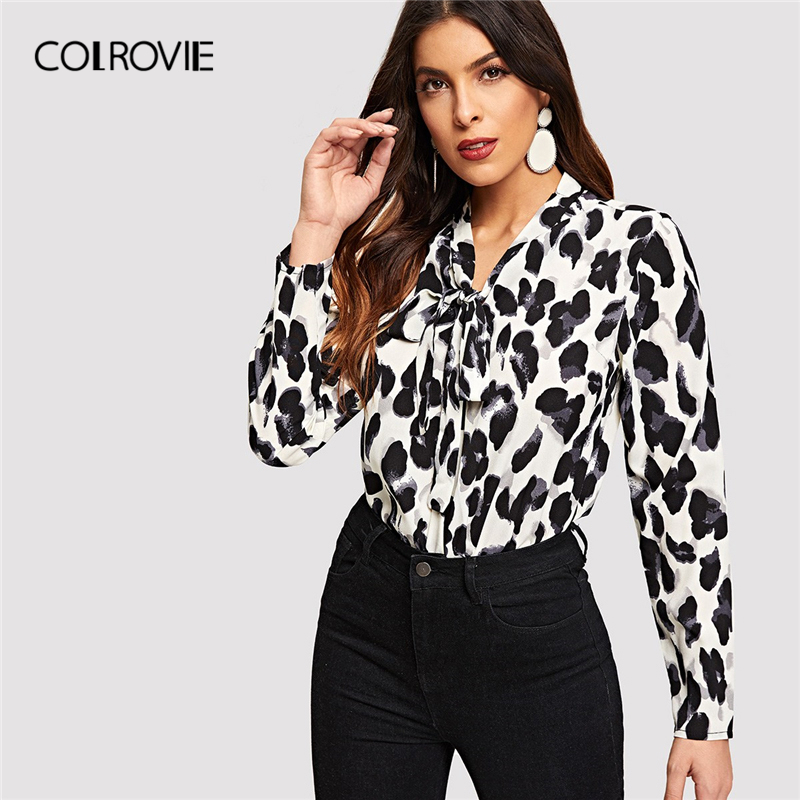 COLROVIE Tie Neck Leopard Print Long Sleeve Office Elegant Blouse Shirt Women 2019 Spring Fashion Shirts Ladies Tops And Blouses