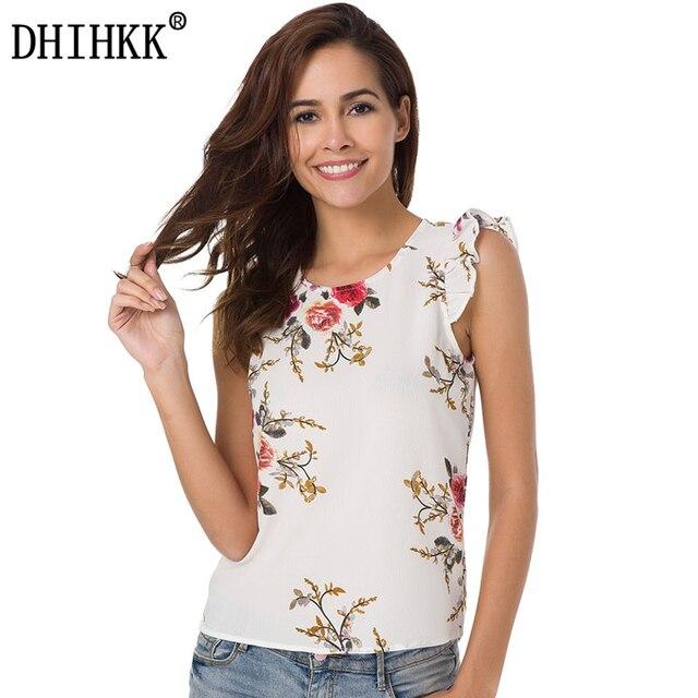 Dhihkk 2018 Women Summer Tops Fashion White O Neck Sleeveless Floral