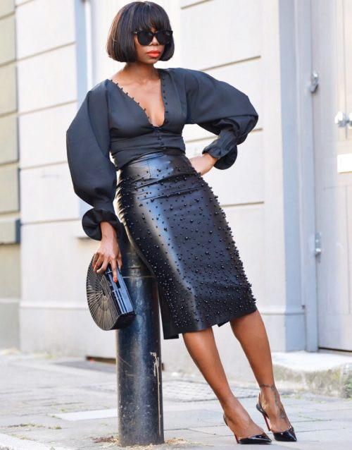 SWYIVY Women Leather Skirt Split Irregular 2019 Spring New Female Knee Length Skirts Solid Black Woman Leather Skirt Elasticity 1