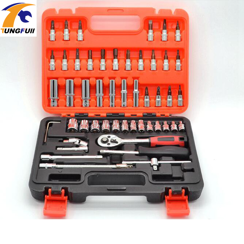 Hot Selling 23-53pcs Spanner Socket Set 1/4 Car Repair Tool Ratchet Wrench Set Cr-v Hand tools Combination Bit Set Tool Kit 32 piece 1 2 series socket sets for home and auto spanner socket set 1 2 car repair tool ratchet wrench set cr v hand tools