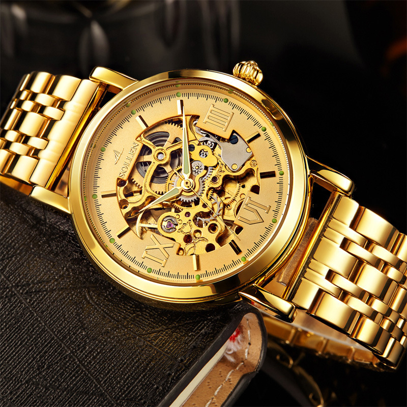 New Listing Men's Luxury Engraving Gold Watches Men Full Steel Hollow Skeleton automatic Mechanical Watch relogio masculino original binger mans automatic mechanical wrist watch date display watch self wind steel with gold wheel watches new luxury