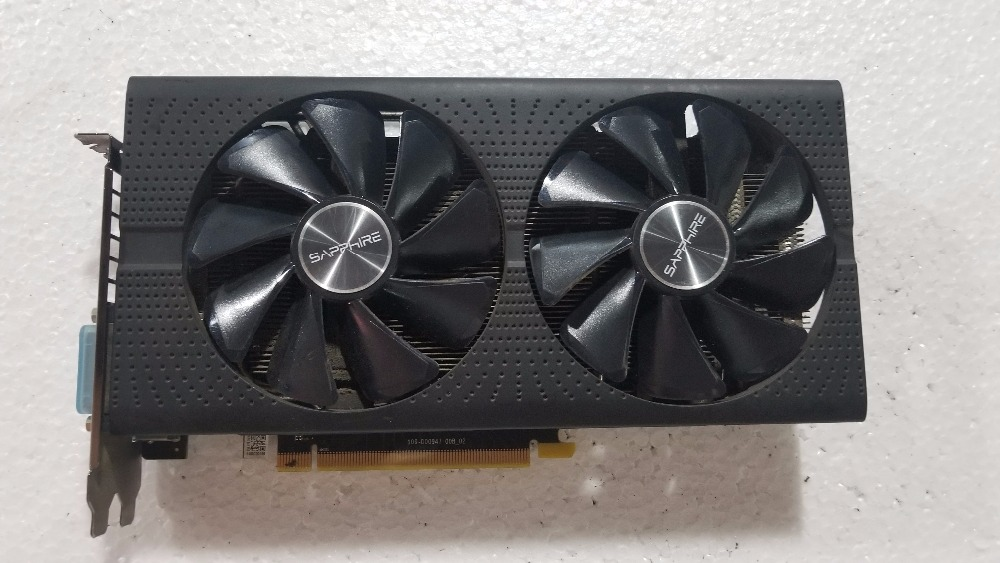 Используется, Sapphire Radeon RX580 4 Гб GDDR5 PCI Express x16 3,0 Видео игровой видеокарты внешняя видеокарта для рабочего стола