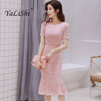 2018 Summer Black Pink Women Dress Short Sleeves O Neck Lace Dresses Bandage Bodycon Sexy Party Mermaid Dress Vestidos De Festa